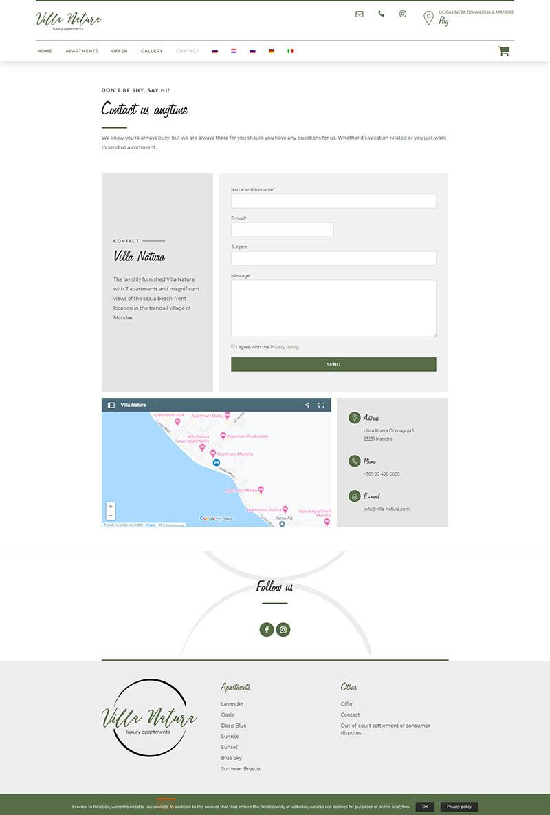 Izdelava spletne strani Villa Natura